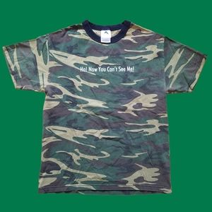 Vintage 2001 Alstyle camo now you can't see me tee